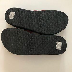 Teva Shoes - Teva Strappy Thong 9 Black Pink Wedge Sandals
